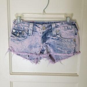 TRUE RELIGION Joey Cut Off acid wash shorts